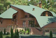 Дизайн проект фасада загородного дома в современном стиле / Пожелания заказчика: разработка нестандартного дизайн проекта фасада загородного дома в современном стиле.