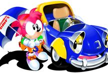 Sonic Drift / Some official art, magazine scans and character/kart art from Sonic Drift.  More info on this game at http://sonicscene.net/sonic-drift