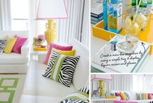 Living With Color: Bight On White / Like your walls white but don't want boring? Energize that white by adding  bright colors around your the room.  This board celebrates how everybody can appreciate a little pop of color with bright on white interior design.