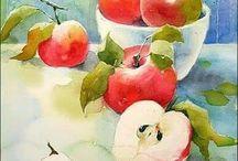 яблоки акварель