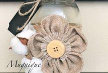 Kvetinove dekorácie z juty,látky,čipky