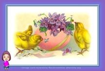Vintage Easter Cards - Cartoline di Pasqua / Raccolte di cartoline d'epoca che ho restaurato con gran piacere. Vintage card restored by me.