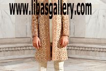 Bespoke Sherwani Suits for Groom and Dulha in light and Dark Colors Fancy Embroidered Wedding 2017