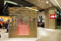 The North Face | Bondi Junction / For us it is always important to respond to the 'landscape' of each of the individual sites for these stores. For this particular store the articulation of the shopfront was a key element. Using plywood and 'dematerialising' a cube at the shopfront of the store - which is inspired by the square The North Face logo – creates an interesting entry to the store, acting as a backdrop for the window display and a house for the cash register.