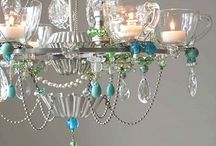 Chandelier recycled crystal and silver