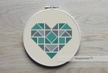 CROSS STITCH HEARTS-LOVE