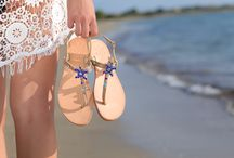"Leather Handmade Luxury Sandals ""Starfish"" DT - 696 sapphire / Sandals"