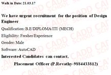job offers for BE/ DIPLOMA (MECH) interesting candidate apply for this job