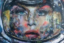 peinture collage magazine / cosmonaute