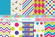 New Years Cliparts, Printables, Digital Papers and party ideas / by Mygrafico Digitals