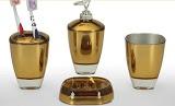 accesorios baño / CA - juego de baño dorado y blanco 4 piezas en melamina.