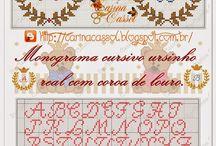 ponto cruz monogramas
