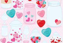 Valentine digital clipart 99¢