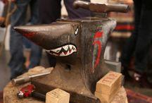 Blacksmithts-shop, workshop and tools