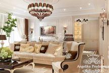 Дизайн-проект квартиры в стиле Ар-Деко на Новой Басманной / Дизайн  квартиры спроектирован для комфортной и роскошной жизни на Новой Басманной. За основу взят стиль Ар-Деко. Гостиная совмещена со столовой, которая вмешает большое количество людей. Мягкие цвета и античный декор создают особое настроение. В комнатах большие окна и много естественного освещения.