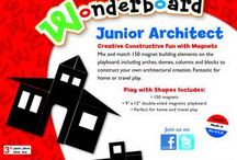"""Wonderboards  / Wonderboard® Magnet Sets offer children hours of open-ended, """"no-rules"""" fun – while at the same time, offers parents the peace of mind that their kids are getting a much needed break from their usual """"digital"""" world. Perfect for home and travel use.  These multi award-winning kits include one sheet of flexible, colored magnets, one white 9"""" x 12"""" double-sided play-board, and packaging shares information in French, German and Spanish. Ages 3+"""
