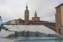 Zaragoza, Spain. / Zaragoza has many Mudéjar-style landmarks, combining Islamic and Gothic architecture, include the Aljafería, an 11th-century Moorish palace, and the Cathedral of the Savior.