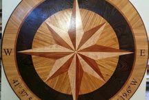 Deegan Hardwood Compass Rose Floor Medallion Inlay