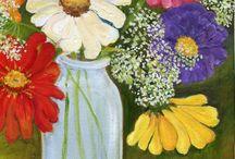 acrylic flowers on canvas