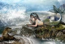 Mermaids and sea creatures / Mermaids are mystical beauties who protect the oceans.
