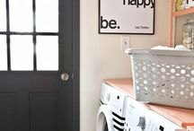 {laundry} / Functionality and fun. Inspiration for my non yellow laundry.