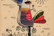 *My collages* / old newspapers and pieces of old notebooks card is a great material for illustration
