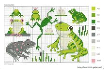 Cross stitch - frogs