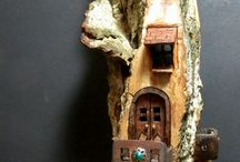 woodcarving / bark houses and spirit faces,  fairy houses