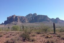 Superstition Mountains / The Superstition Mountains are the backdrop for the Historic Mining Camp Restaurant in Apache Junction, Arizona