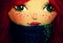 My dolls / Handmade cloth dolls with painted face characteristics