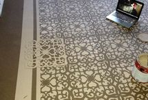 concrete floors stencilled