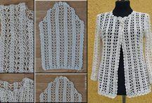 Casacos e blusas de crochê e trico
