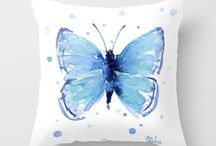 Butterflies / A curated collection of butterfly art (staying trendy with 2017 trends) by various international artists. All are available on other products not only throw pillows.