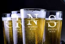 Wedding Pint Glasses / Custom Engraved Pint Glasses For The Wedding Couple Or The Bridal Party
