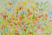 #ClaraFruggeri #watercolors #paintings / #Flowers #gardens #landscapes #watercolors #paintings