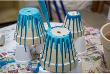 Pintando vasos de barro ❤️