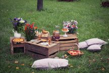 Dans mon verger / Petit pique nique à la campagne dans les vergers d'Alsace sur fond de couleurs corail et lavande.
