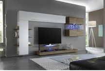 Wall Unit / Simple and stylish this modular entertainment system, manufactured by LC Mobili, Italy, will be great addition to any room in your modern home. Composition 1 consists of two horizontal, one vertical hanging units and a hanging cube box.
