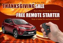 Thanksgiving Sales Event / Stop in #Route44Hyundai for our Thanksgiving Day Sales Event. Buy a #New #Hyundai in the month of November and get a Free Remote Starter. Up to $5,000 in Bonus Cash on Select Models.