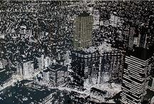 Pietro Dente /  Tokyo 2014 80x50 cm tecnica mista su policarbonato e tela mixed media on polycarbonate and canvas technique mixte sur polycarbonate et toile