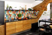 carrelages cuisine colorée