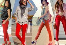 джинсы красные