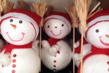 Omino di neve / Fatto con palline di polistirolo e panno lenci rosso