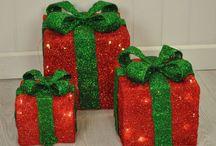 Christmas Gift Box Indoor Decoration Red Set Light 3 Piece LED Xmas Home Decor