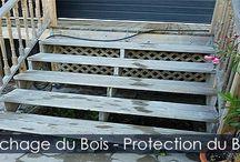 Nettoyer le Bois Traité d'une Terrasse Patio ou Structures Extérieures / Instructions pour restaurer ou rénover ou nettoyer le bois d'une terrasse patio ou structures extérieures. Produit nettoyant pour le bois, application du produit et nettoyage avec laveuse haute pression.