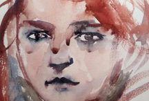 Submarine Chicken - Faces / watercolour illustrations
