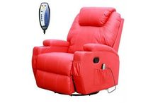 Electric Massage Chair Leather Sofa Recliner Seater Heated Rocking Relaxing Foot