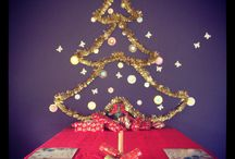 Christmas tree / For small spaces and toddler safe Christmas tree. Tinsel blu-tac and paper.