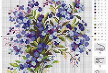 kanaviçe mavi çiçekler