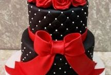 black and red cakes
